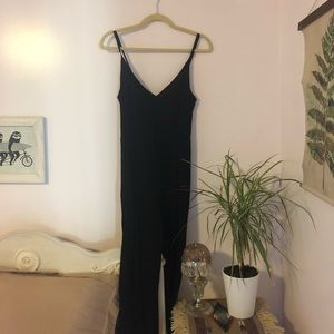 Black Wide Leg Romper with Button Front